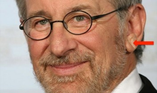 Steven Spielberg with red arrow pointing to left DELC