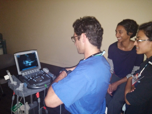Physicians working with technology