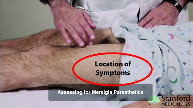 location of symptoms to meralgia paresthetica