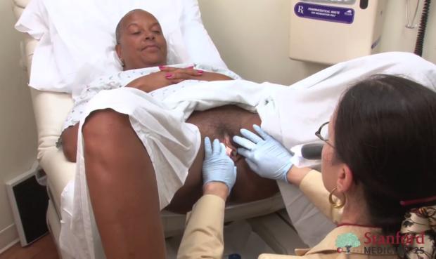 Examine vulvar region